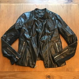 Black Express Leather Moto Jacket